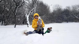 Woman playing with three dogs in deep snow Live Action