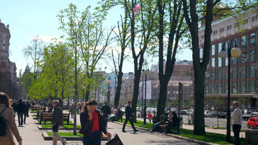 Khreshchatyk Street Kyiv Ukraine 20 April 2018 - People Walking Sitting Vehicles Traffic Buildings Live Action