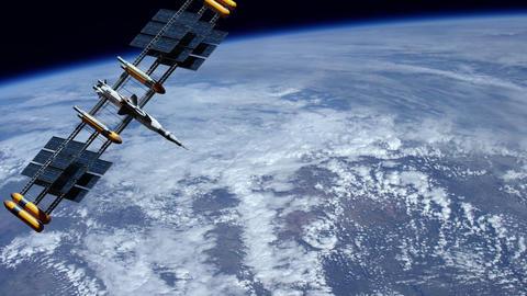 Meteorology space navigation satellite monitoring weather of planet Animation