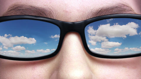 Sky reflected in glasses Footage