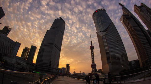 Sunset Clouds In Pudong stock footage
