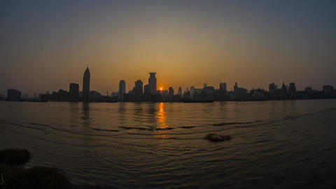 The Bund Day to Night Time Lapse Stock Video Footage