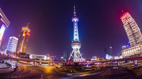 Night view of the East Pearl Tower Stock Video Footage