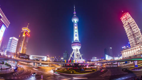 Night View Of The East Pearl Tower stock footage