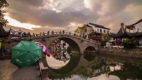 Cloudy Sunset of an old Chinese water town Stock Video Footage