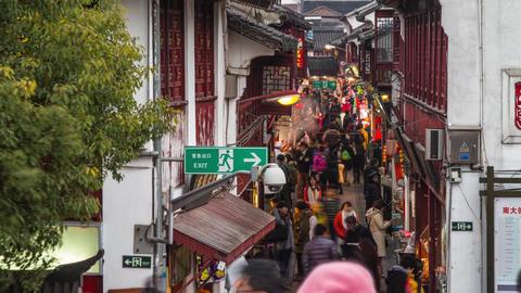 Crowds Traffic in Qibaozhen Stock Video Footage