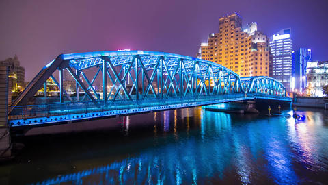 Steel Bridge Night Traffic Stock Video Footage