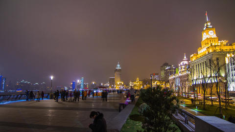 Night Crowds Traffic at The Bund Stock Video Footage