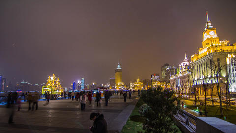Night Crowds Traffic at The Bund Footage