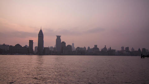 Sunset at The Bund Wide Shot Stock Video Footage