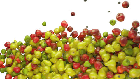 Fruit assortment: apples and pears flow with slow motion.... Stock Video Footage
