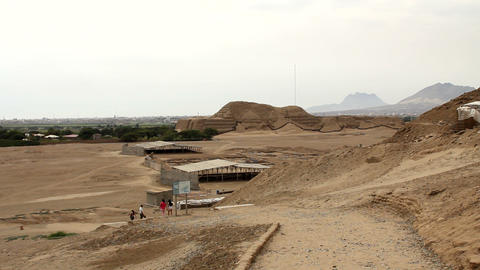 Huaca del Sol and archaeological excavations Footage
