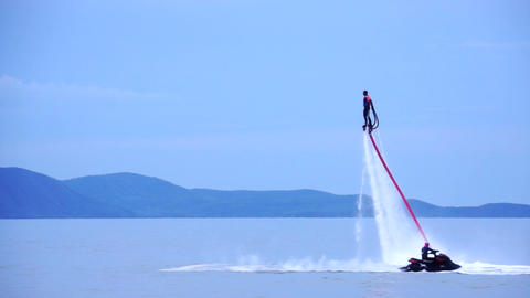 Water Jet Man Stock Video Footage