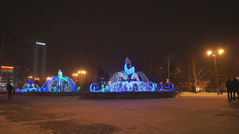 Krasnoyarsk Winter Fountains 01 Stock Video Footage