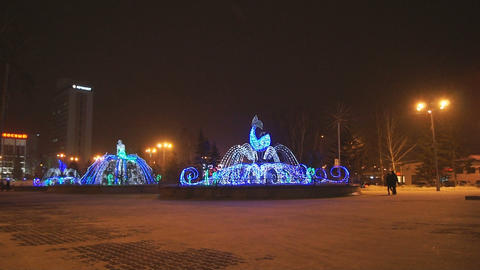 Krasnoyarsk Winter Fountains 01 Footage