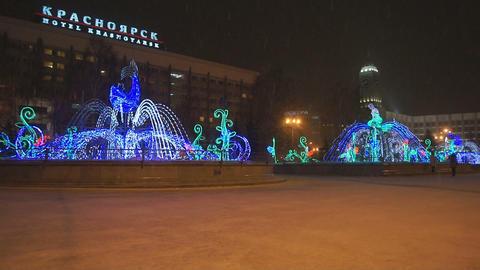 Krasnoyarsk Winter Fountains 03 Stock Video Footage