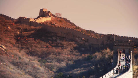 sunset Great wall,China ancient architecture Stock Video Footage