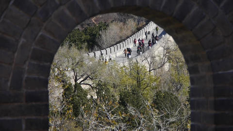 view Great wall from battlements lookouts,China ancient defense engineering Live Action
