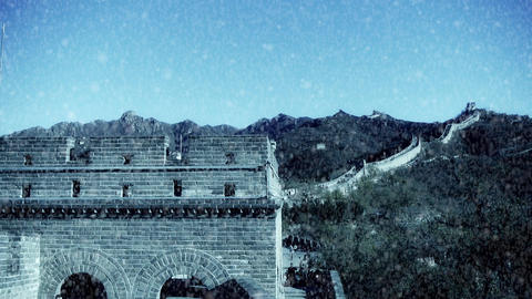 Great wall,China ancient defense engineering Stock Video Footage