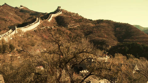 Great wall in dusk,China ancient defense engineering Stock Video Footage