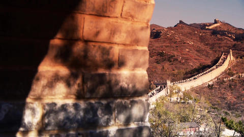 view Great wall from battlements lookouts in dusk,ancient... Stock Video Footage