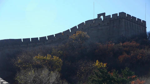 Great wall silhouette,China ancient defense engineering Stock Video Footage
