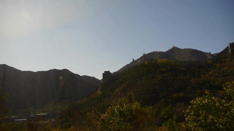 view Great wall from running train,China ancient defense... Stock Video Footage