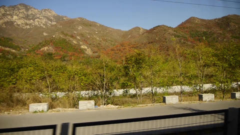 autumn mountain in rural countryside.Speeding train... Stock Video Footage
