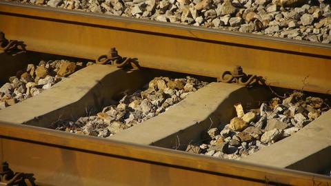 train railway & gravel under dusk sunny Stock Video Footage