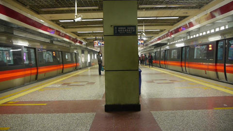 Beijing subway station,people crowd waiting for train in... Stock Video Footage