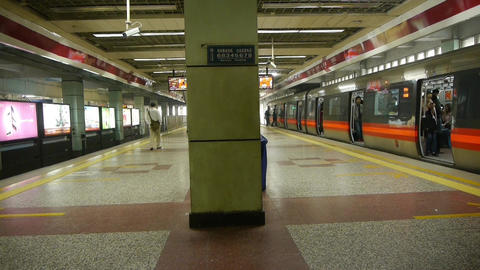 Beijing subway station,people crowd wait for train in shelters at modern city Footage