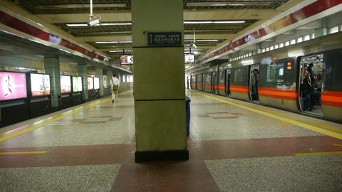 Beijing subway station,people crowd wait for train in... Stock Video Footage