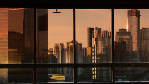 view modern urban high-rise from windows,business... Stock Video Footage