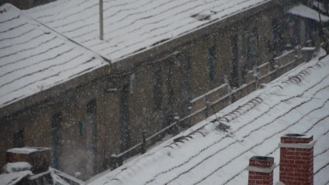 falling snowflake,snow cover house roof Stock Video Footage