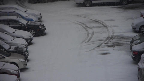 snow cover parking lot Footage