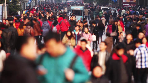 Slow Motion of Busy Crowds Traffic Stock Video Footage