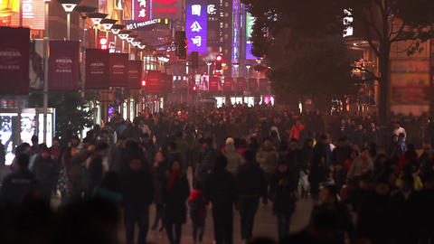 Busy Night Crowds Traffic on Nanjing Road Stock Video Footage