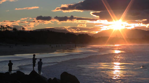 Fishing  At   Sunset   Byron   Bay stock footage