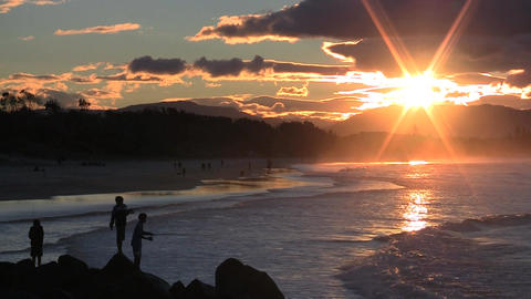 Fishing at Sunset Byron Bay Stock Video Footage