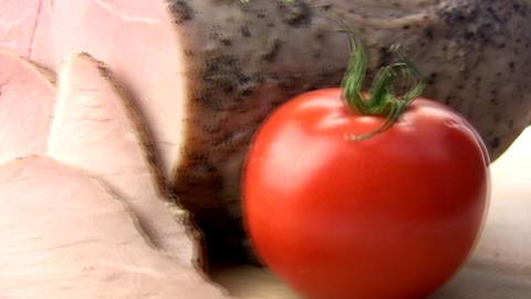 Balyk, tomatoes, herbs Stock Video Footage