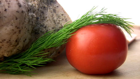 Balyk, tomatoes, herbs Stock Video Footage
