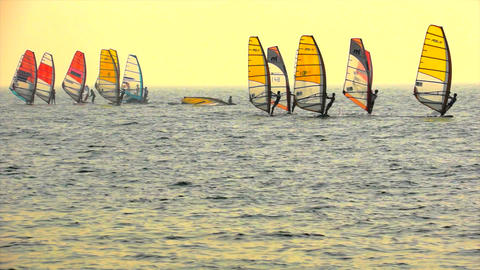 Sailboard Windsurfing Race Start Footage