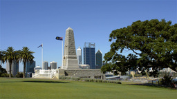 King's Park War Memorial with Perth Skyline in the Background Footage