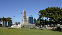 King's Park War Memorial with Perth Skyline in the... Stock Video Footage