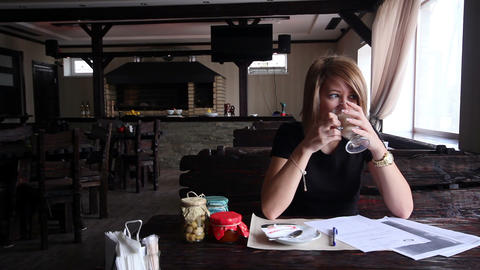 Business Woman Drinking Coffee At The Club Stock Video Footage