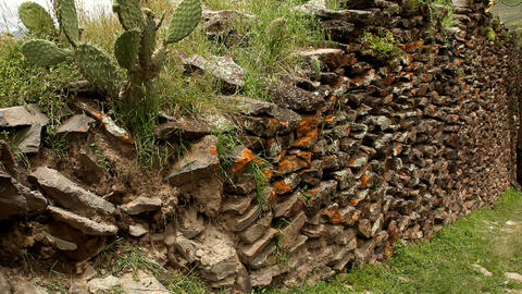 Ancient wall built by Wari people Stock Video Footage