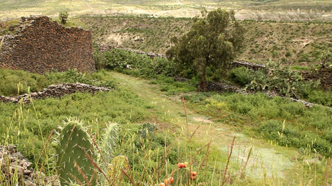 Ancient walls built by Wari people Footage