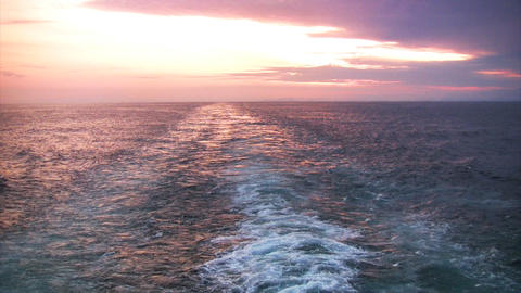 Sunset astern Stock Video Footage
