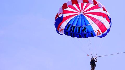 Parasail Landing Stock Video Footage