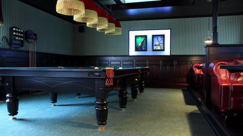 4K. Club For A Game Of Billiards. FULL HD, 4096x2304 Stock Video Footage